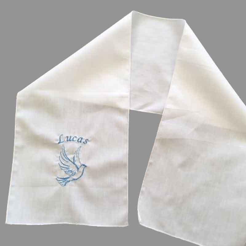écharpe de baptême avec prénom et motif traditionnel de la Colombe
