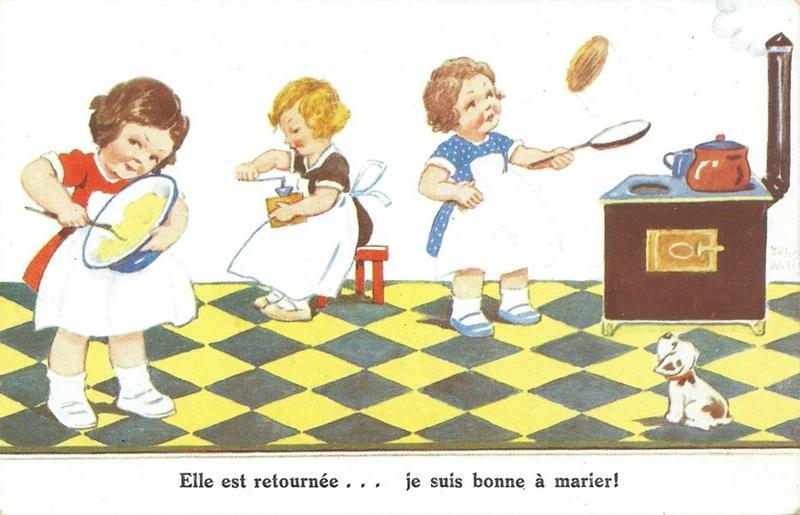 Dessin vintage Enfants et crêpes