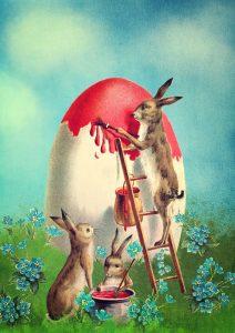 Oeufs de Pâques décorés par des lapins